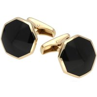 9ct Yellow Gold Whitby Jet Octagon Shaped Cufflinks