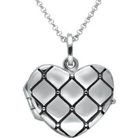 Sterling Silver Padded Heart Locket Necklace