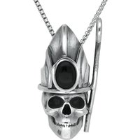 Sterling Silver Whitby Jet Skull With Crown and Shepherds Crook Necklace