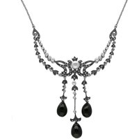 Sterling Silver Whitby Jet Marcasite Pearl Triple Drop Necklace