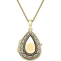 Yellow Gold Vermeil Pear Pattern Edge Keepsake Locket