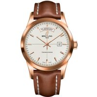 Breitling Watch Transocean Mercury Silver Red Gold Leather Tang Type
