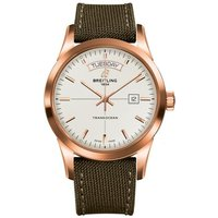 Breitling Watch Transocean Mercury Silver Red Gold Military Tang Type