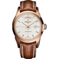 Breitling Watch Transocean Mercury Silver Red Gold Croco Tang Type