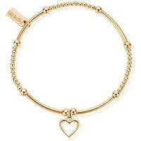 ChloBo Sterling Silver Gold Plated Cute Mini Open Heart Bracelet