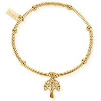 ChloBo Sterling Silver Gold Plated Cute Mini Heart Tree Of Life Bracelet