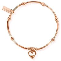 ChloBo Sterling Silver Rose Gold Plated Mini Noodle Ball Heart In Heart Bracelet