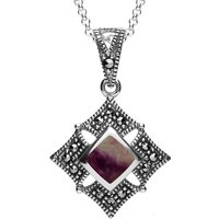 Sterling Silver Blue John Marcasite Square Necklace