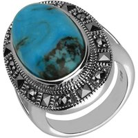 Sterling Silver Turquoise Marcasite Beaded Oval Ring
