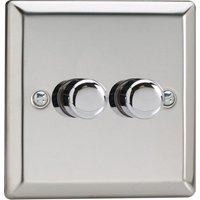 Varilight V Pro LED Dimmer Switch   2 Gang 2 Way   Chrome