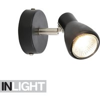 Single Adjustable GU10 Spotlight Fitting   Black