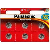 Panasonic CR2016 3V Lithium Coin Cell Batteries 6PK