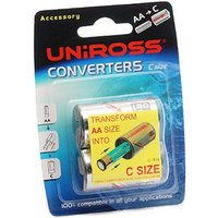 Uniross C Size Battery Converters Pack of 2  AA to C