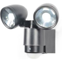 Zinc Outdoor 2 Light Wall Light Fixture   Black   PIR Sensor