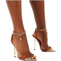 Triumph PU Lock Chain Detail Anklet Strap Stiletto Heels, Tan