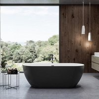 Charlotte Edwards 1500mm Belgravia Matt Black Contemporary Freestanding Bath