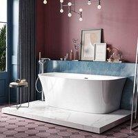 Charlotte Edwards Carme Acrylic Back to Wall Bath | Painted Finish Option - 1700x800mm