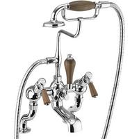 Burlington Kensington Walnut Deck Mounted Angled Bath Shower Mixer