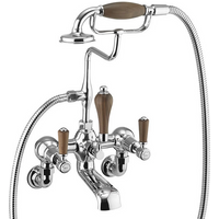 Burlington Kensington Walnut Wall Mounted Bath Shower Mixer with S Adjuster