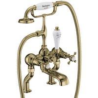 Burlington Claremont Gold Deck Mounted Bath Shower Mixer