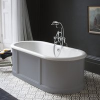 Burlington London Grey 1800mm Bath with Curved Surround and Waste