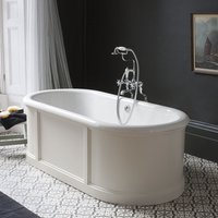 Burlington London Sand 1800mm Bath with Curved Surround and Waste