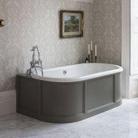 Burlington London Olive 1800mm Back to Wall Bath with Curved Surround and Waste