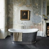 Clearwater Balthazar Chrome Clear Stone Roll Top 1675mm Freestanding Bath