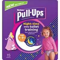 Huggies Pull Ups Night Time Potty Training Pants Girls 1-2.5 Years 15 Pants