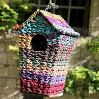 Bird House-Upcycled Sari Tall