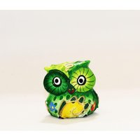 Hand Painted Wooden Owl green