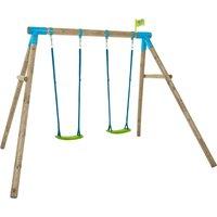 TP Knightswood Compact Wooden Double Swing Set-FSCandreg