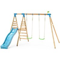 TP Knightswood Double Wooden Swing and Slide Set-FSCandreg