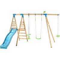 TP Knightswood Triple Wooden Swing and Slide Set With Glider and Button Seat-FSCandreg;