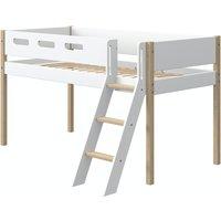 Flexa NOR halbhohes Bett (90x200 cm) mit Schrägleiter in Weiß/Eiche