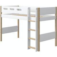 Flexa NOR mittelhohes Bett (90x200 cm) mit senkrechter Leiter in Weiß/Eiche