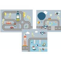 "Flexa Spielvorhang ""Transport"" für halbhohe Betten (3-teilig)"