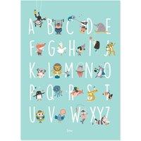 """Julica Poster zur Kinderzimmer-Deko """"ABC"""" (50 x 70 cm) inkl. Memory-Spiel zum Ausschneiden in mint"""
