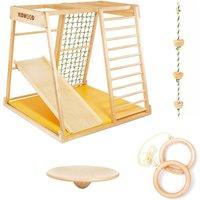 """Kidwood Kinder-Klettergerüst """"Segel GAME Set"""" aus Holz (6-teilig) für Kinderzimmer"""