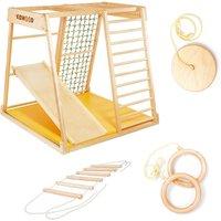 """Kidwood Kinder-Klettergerüst """"Segel SPORT Set"""" aus Holz (6-teilig) für Kinderzimmer"""
