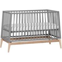 Leander Luna Babybett (60x120) höhenverstellbar, grau / Eiche