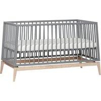 Leander Luna Babybett (70x140) höhenverstellbar, grau / Eiche