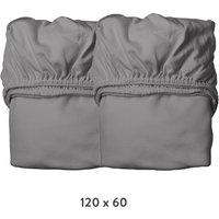 Leander Spannbettlaken aus Bio-Baumwolle (60x120 cm) 2er-Pack Cool Grey