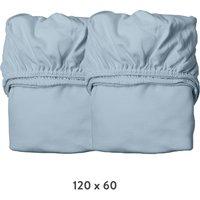 Leander Spannbettlaken aus Bio-Baumwolle (60x120 cm) 2er-Pack Dusty Blue