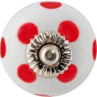 Nicola Spring Round Ceramic Cabinet Knob - White/Red Spot