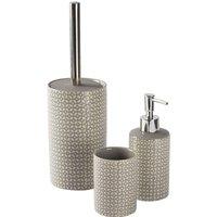 Harbour Housewares 3 Piece Ceramic Bathroom Accessories Set - Grey Geometric