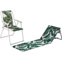 2 Piece Folding Beach Chair and Lounger Set - Banana Leaf - By Harbour Housewares