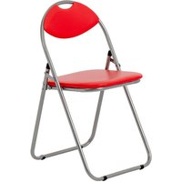 Harbour Housewares Padded Folding Chair - Red/Silver
