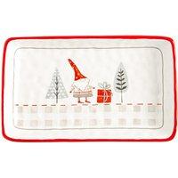 Rectangular Christmas Serving Platter - 25 x 15cm - Patchwork - By Nicola Spring
