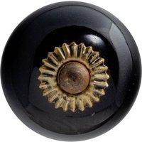 Nicola Spring Round Ceramic Cabinet Knob - Black